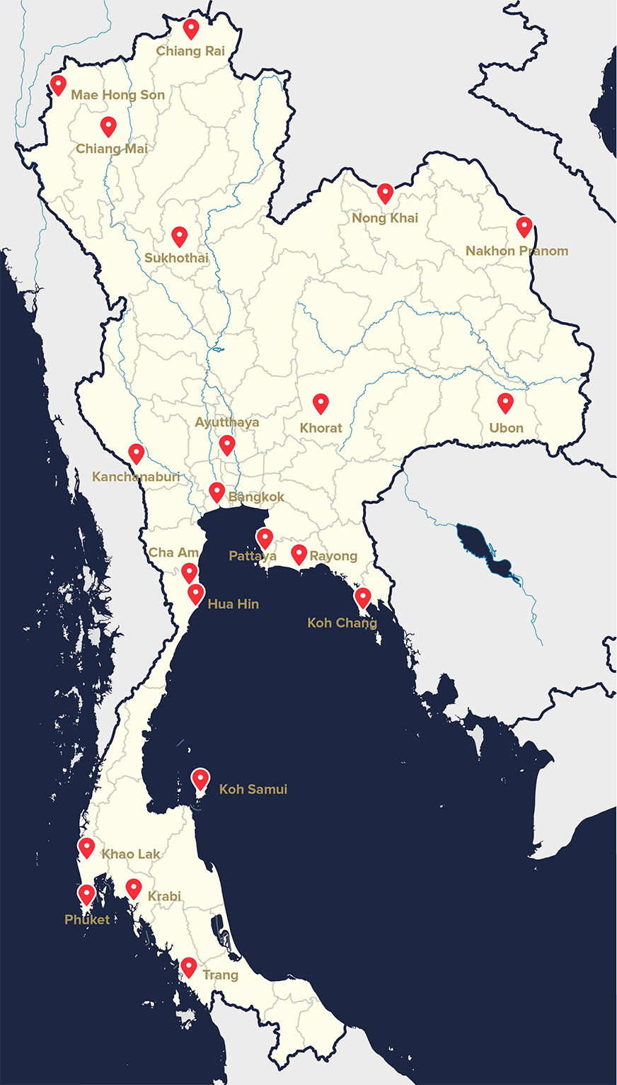 Thailand Map with major locations